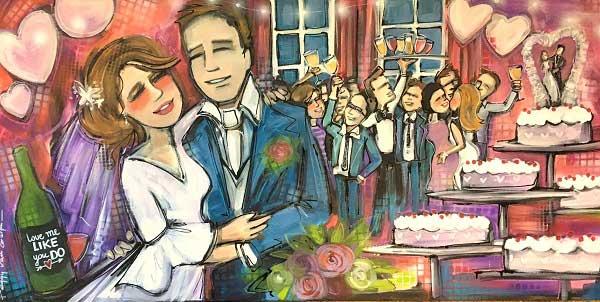 Live paint bruiloft