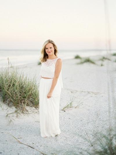 Strand trouwjurk met losse top