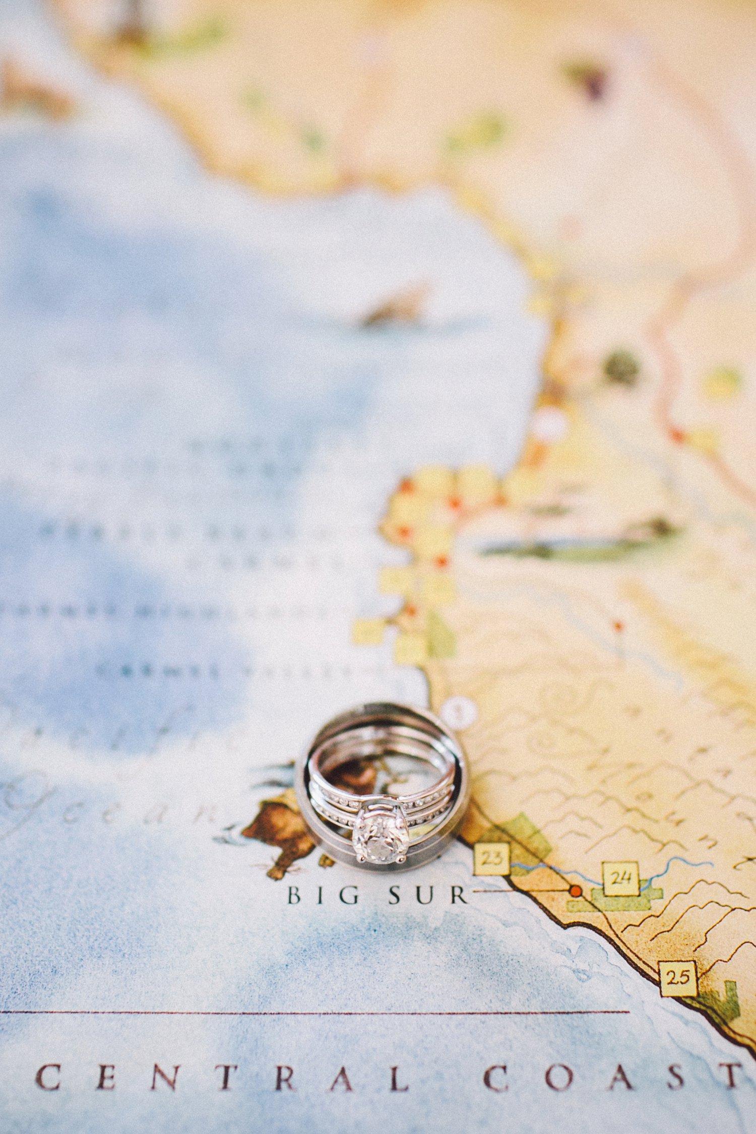 Kaart met bestemming van de huwelijksreis