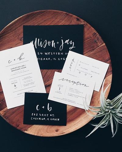 Handlettering trouwkaarten