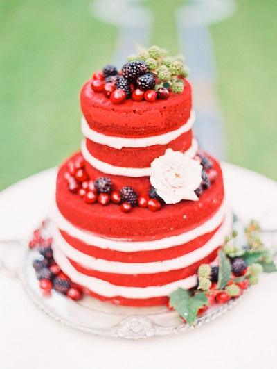 Red velvet bruidstaart