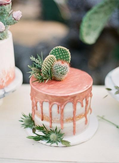Druipende bruidstaart met cactus