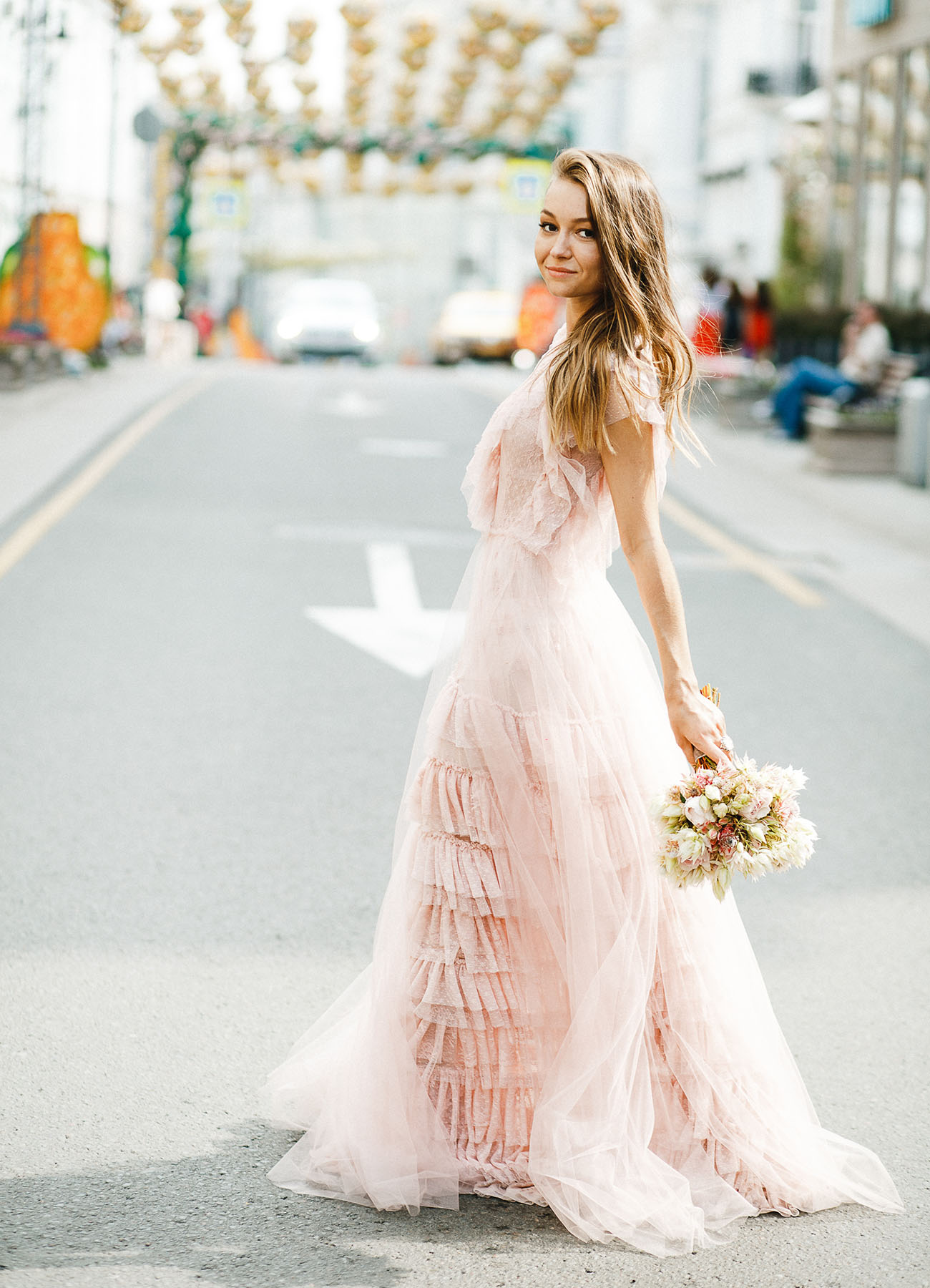 Licht roze trouwjurk