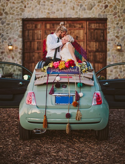 Just married versiering auto