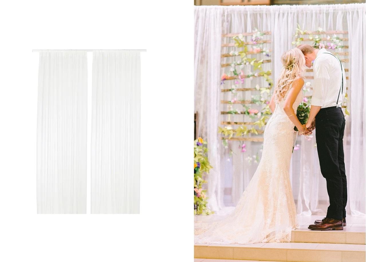Vitrage als backdrop bruiloft