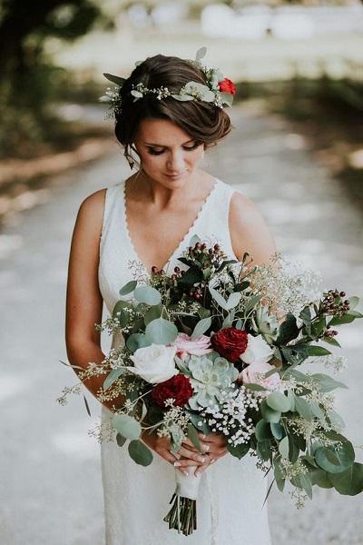 Winter bruidsboeket met vetplantjes