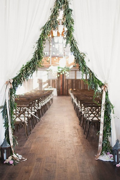 Winter bruiloft ceremonie
