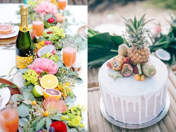 Bruiloft decoratie met fruit