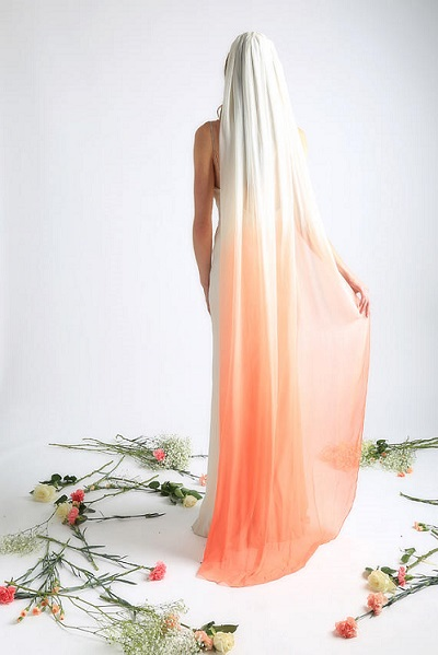 Oranje ombre sluier