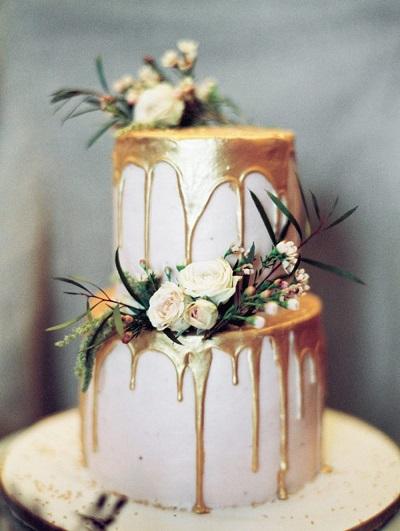 Druipende bruidstaart goud