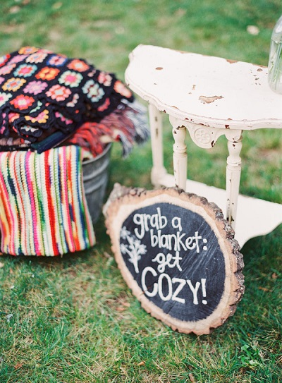 Bruiloft in tuin dekentjes