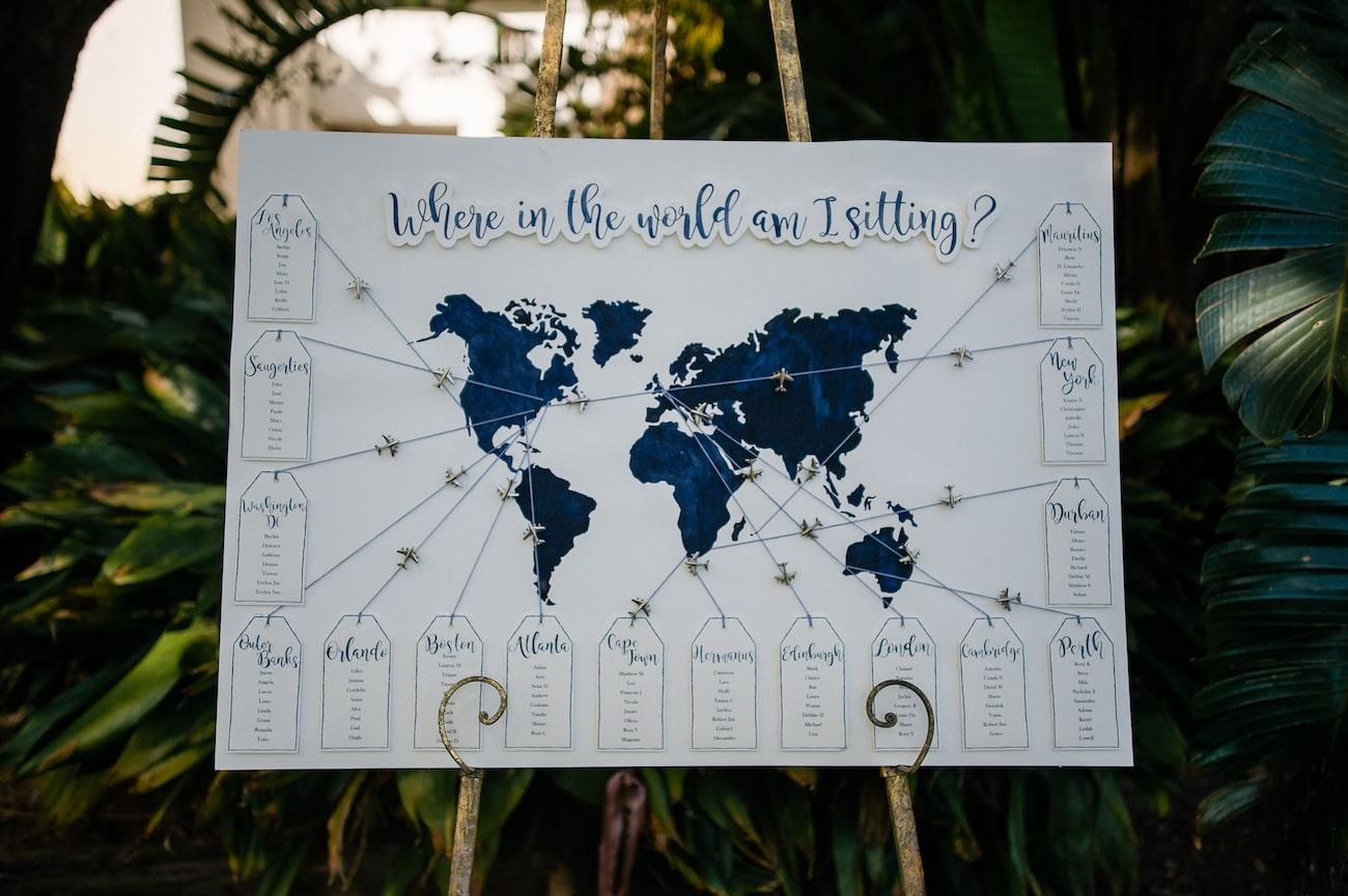 Wereldkaart voor bruiloft