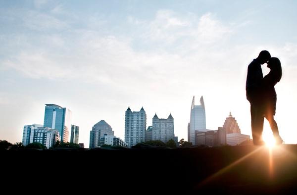 Skyline verlovingsfoto