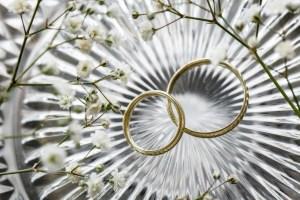 Ringen voor de bruiloft op een steen