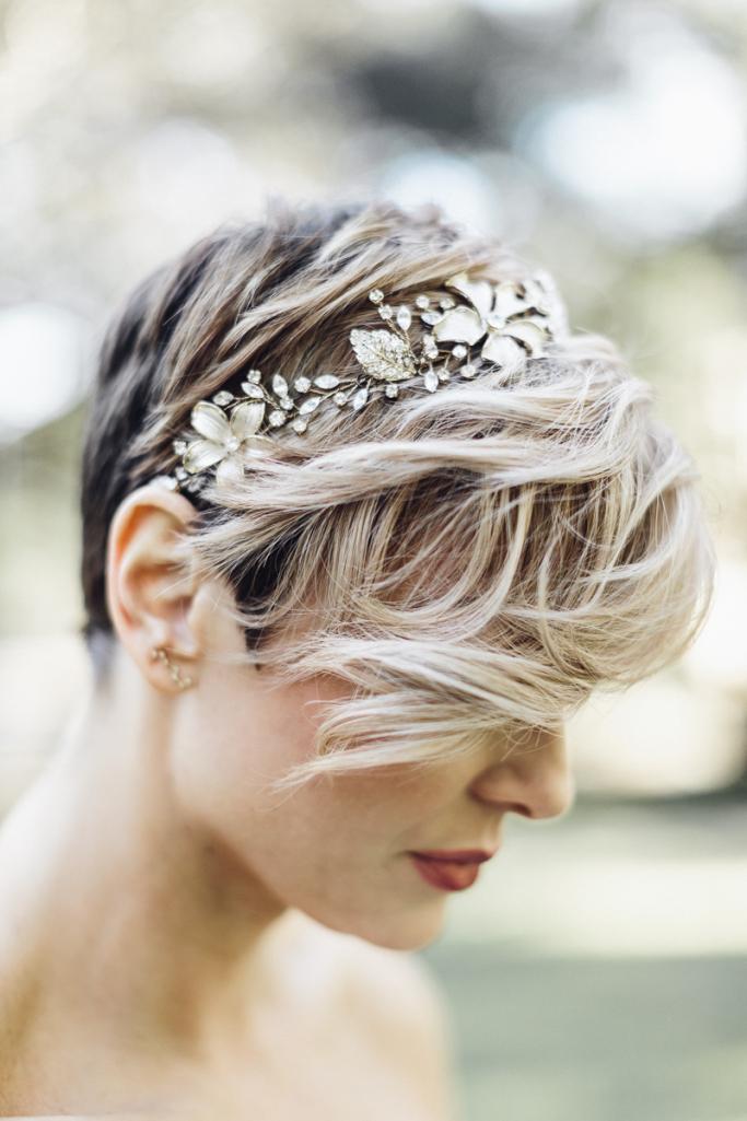 Haaraccessoires voor bruidskapsels met kort haar