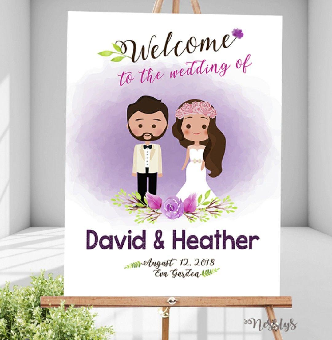 Cartoon tekening bruidspaar