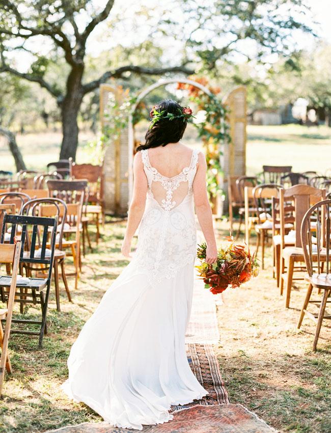 Herfstbruiloft bruid en kleuren