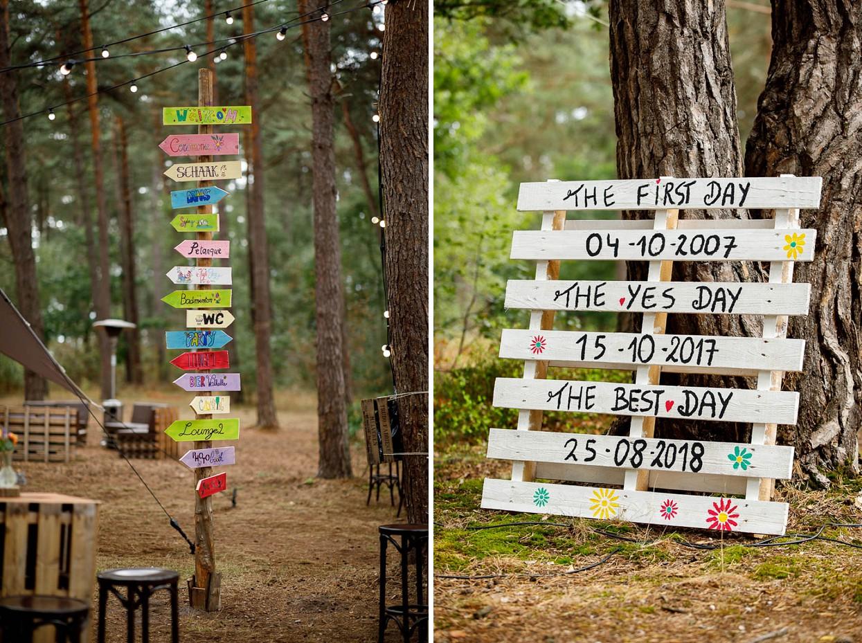 Decoratie voor bruiloft in het bos