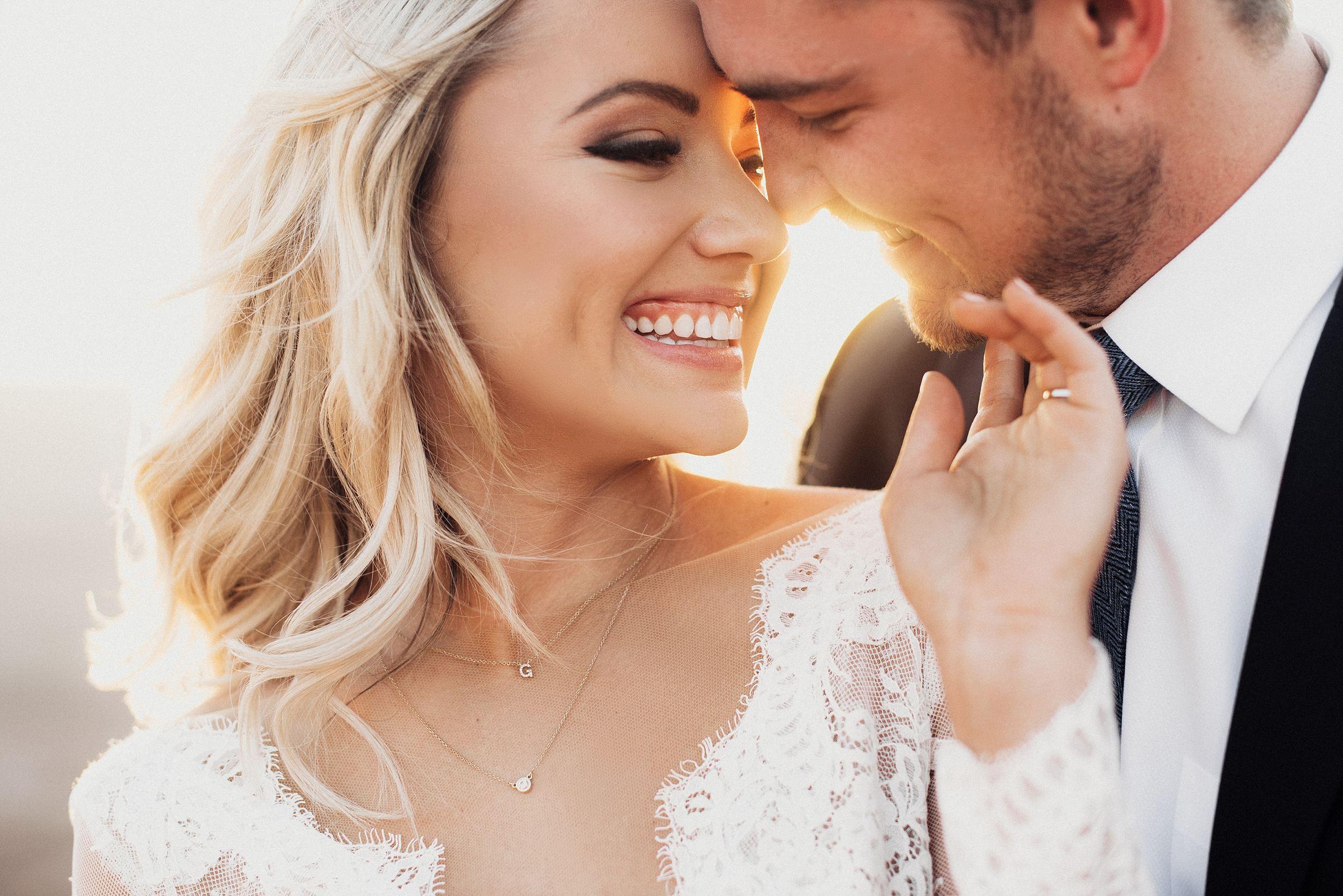 Bruidsfoto van bruid en bruidegom