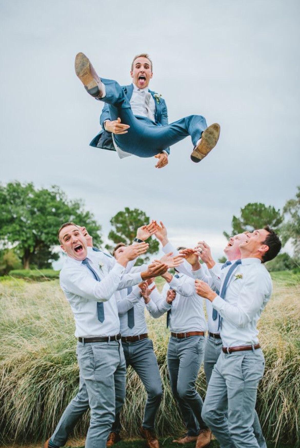 Bruidegom en zijn vrienden