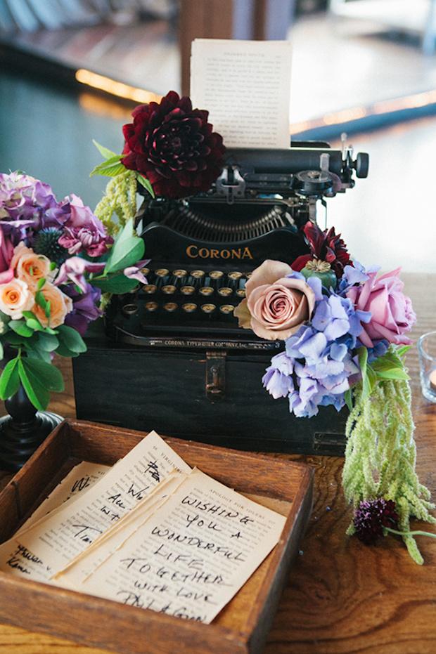 Typemachine als gastenboek bruiloft