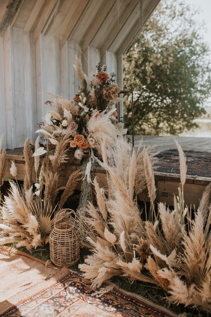 Droogbloemen als bruiloft decoratie