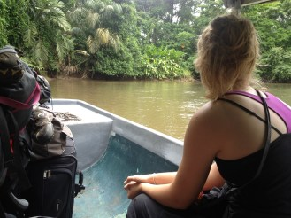 Lydian on the river boat from Tortuguero