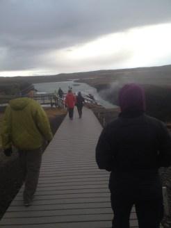 Here we are walking to Gulfoss Waterfall.