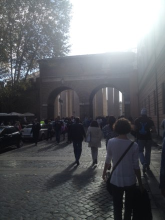 A lot of people were walking toward these double arches. It was our first day in Rome and we had just planned to wander around.