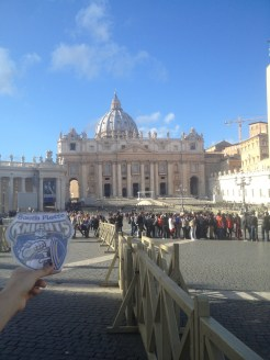 This is the outside of St. Peter's Basilica. This picture was taken in St. Peter's Square in the Vatican. St. Peter's Square was where we saw the pope and often, he gives services at St. Peter's Basilica.