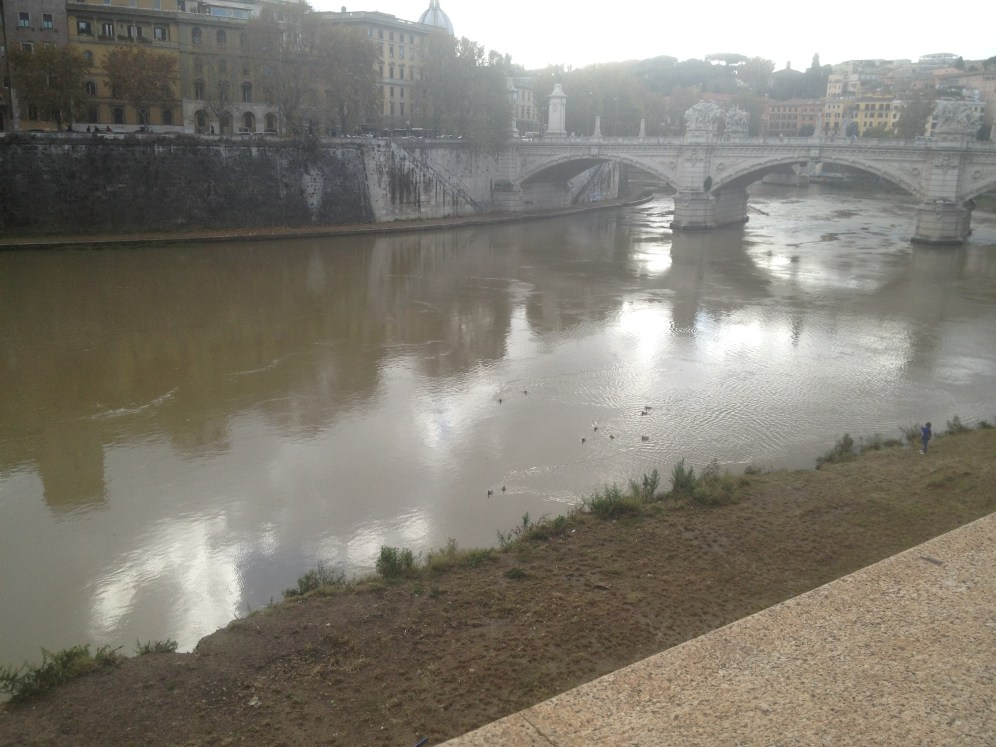 This is the Tiber River in Rome. We had to cross the bridge over the river to get to the Roman Forum and the Colosseum.