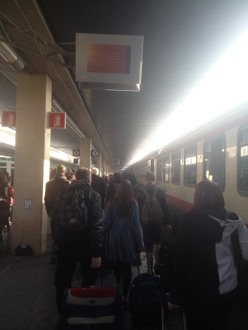 "Even though it's the ""off-season"" when there are fewer tourists in Venice, it was still crowded in the train station."