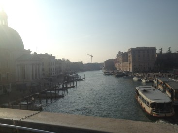 This is the Grand Canal in Venice or the main waterway that people use to get from island to island.