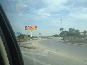 A lot of the billboards are written in Arabic.