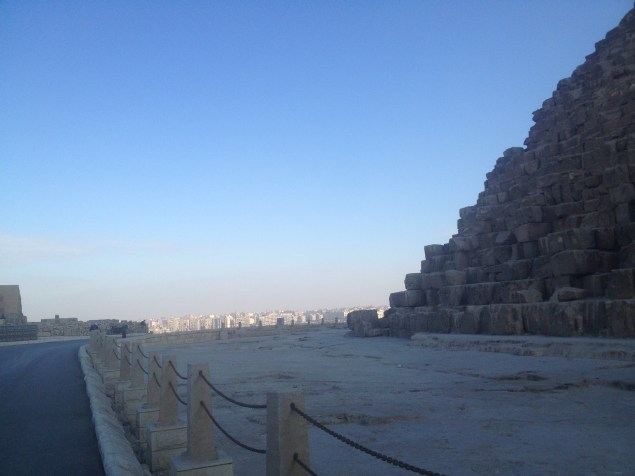 Looking at one of the Pyramids of Giza.