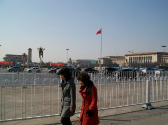 The streets outside Tiananmen Square. The white fences were our enemy when we were trying to find our way (can we cross the street? No. Well then how do we get over to the other side? The subway tunnel...?).