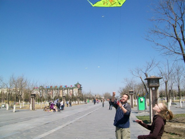 Beijing has excellent kite-flying weather. The kites just go right up.