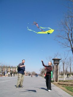 It was so easy to get the kites up in Beijing. People flew kites all the time, day and night there (at least in the spring time when we visited).