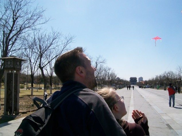 We hadn't done a lot of kite flying before this, so John helped Lydian initially.