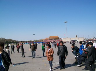 Looking back at the entrance to the Forbidden City and the photo of Mao in Tiananmen Square.