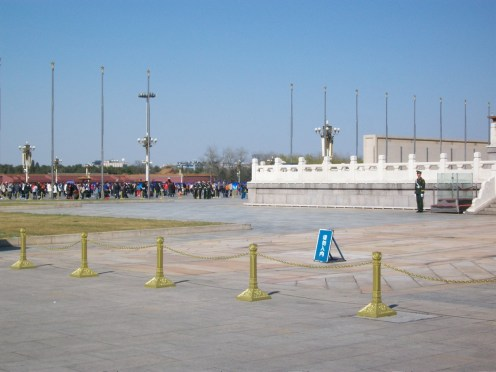 We tried to be as discreet as we could while taking these pictures in Tiananmen Square. The soldiers looked very young.
