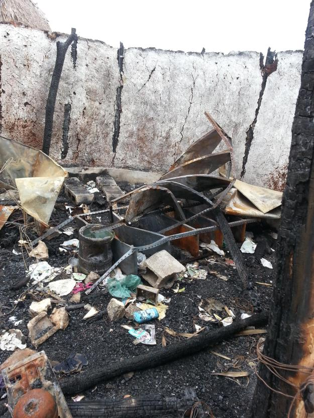 What was left after the fire.
