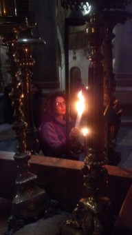 Just outside the Aedicule in the Church of the Holy Sepulchre.