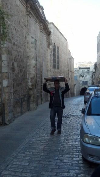 Walking along the Via Dolorosa in Jerusalem, Israel.