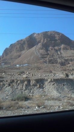 Some of the landscape around the Dead Sea. The ruins of Masada are close by atop a hill similar to this one.