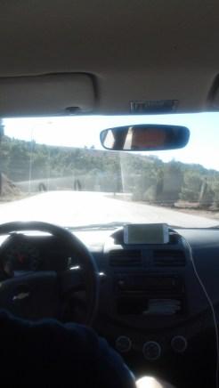 Driving on the outskirts of Wadi Musa, Jordan.