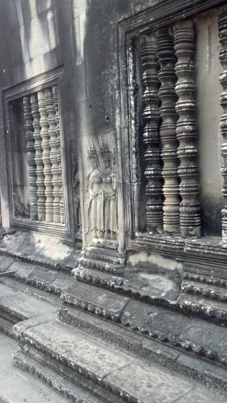 Stone carvings at Angkor Wat in Siem Reap, Cambodia.