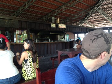 Food options at the waiting area to go to Tortuguero.