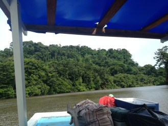 On our way back from Tortuguero, we had a different set up bags in the front of the boat.