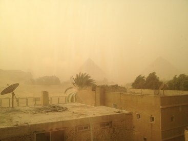 Sandstorm at the pyramids in Cairo.